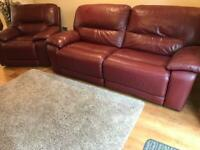 DFS Reclining Sofa and Chair - Red Leather