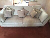 M&S Cream 3 Seater Sofa & Matching Brown Love Seat (Armchair)