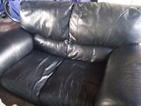 3 seater and 2 seater black leather sofa