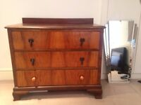 Solid oak vintage chest of drawers plus seperate art deco mirror, 2 for 1!