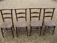 SET OF 4 OLD CHURCH / CHAPEL CHAIRS. More available. Delivery possible. ALSO MONKS BENCH & PEW.