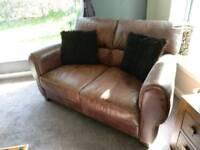 Tan brown leather 2 seater sofa