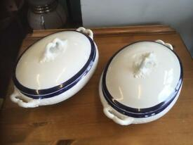 TWO VINTAGE SOUP/VEGETABLE TUREENS