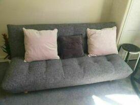 HABITAT Kota 3 Seater Sofa BedFabric (Click Clack) Black and white