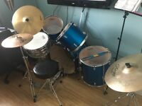 Performance Percussion 5 piece drum kit and quality cymbals