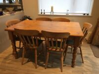 Pine table and 6 chairs
