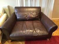 Terence Conran Dark Brown Leather Love Seat/2 seater sofa/chair