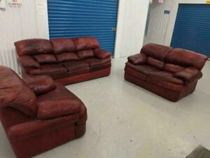 Palliser Dark Red Genuine Leather 3-Piece Living Room Sofa Set Made in Canada. Free Delivery.