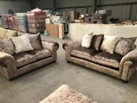 Brand new crushed velvet 3 + 2 seater sofa suite