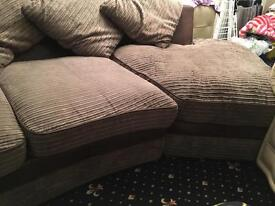 3 seater corner suite & two swivel love chairs