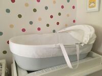 White Company Moses Basket white and cool grey £30