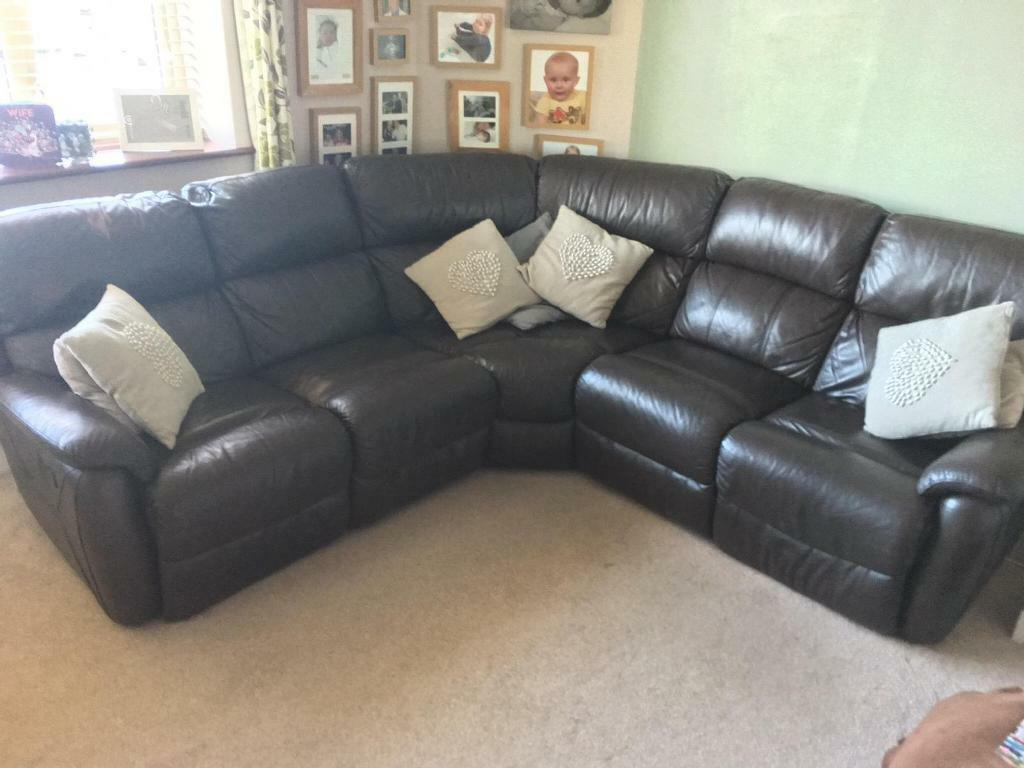 DFS Brown Leather curves back Sofa with recliners  | in Southend-on-Sea,  Essex | Gumtree