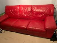 Red leather 3seater/double sofa bed.