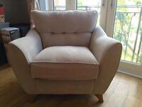 Light grey single armchair & 3 seater sofa