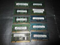 1GB DDR2 ,DDR3 RAMS MEMORY TAKEN FROM WORKING LAPTOP £1 EACH