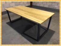Dining table/kitchen/solid oak/Bespoke/industrial/steel/welding/made to order