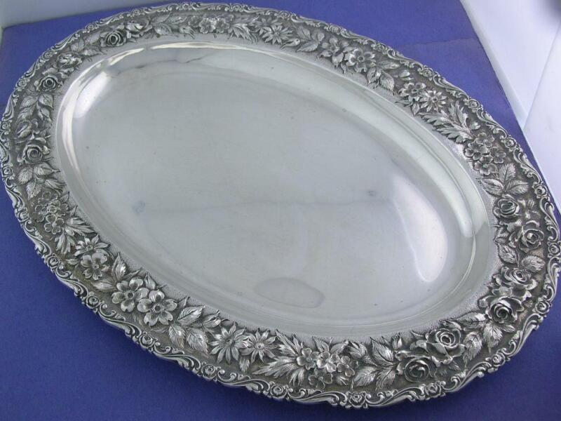 """Sterling SCHOFIELD 12"""" Oval Dish BALTIMORE ROSE floral repousse NoMono 14.75ozt"""