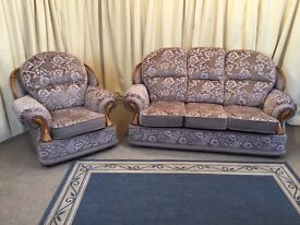 2 Piece Suite Floral 3 Seater Sofa & Armchair High Wing Back