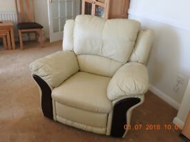 leather 2 seater, single chair, & storage puffe, in cream