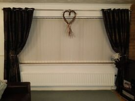 One Pair of Lined Eyelet Curtains, Brown, 227cm x 227cm