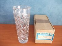 VINTAGE CZECHOSLOVAKIAN GLASS VASE, BOXED