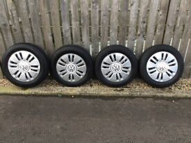 Brand new Volkswagen Up tyres, wheels and hubcaps.