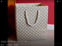Brand new. Stiff sided canvas fawn polka dot bag from 'Lucy Goes To Lapland'