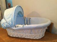Beautiful White & Blue Moses basket