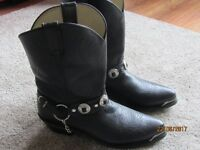 "Mens 11"" Black Durango Cowboy Boots with Concho Buckle like new"