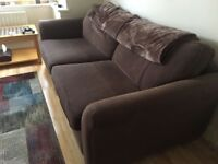 Pair of Brown DFS Sofas 3 & 2 Seaters with Footstool with Storage - GREAT CONDITION -