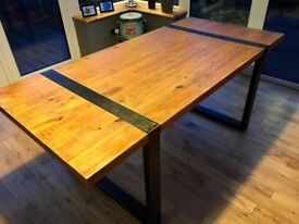 6-8 seater table , made from reclaimed salvage pine with authentic raw metal work.