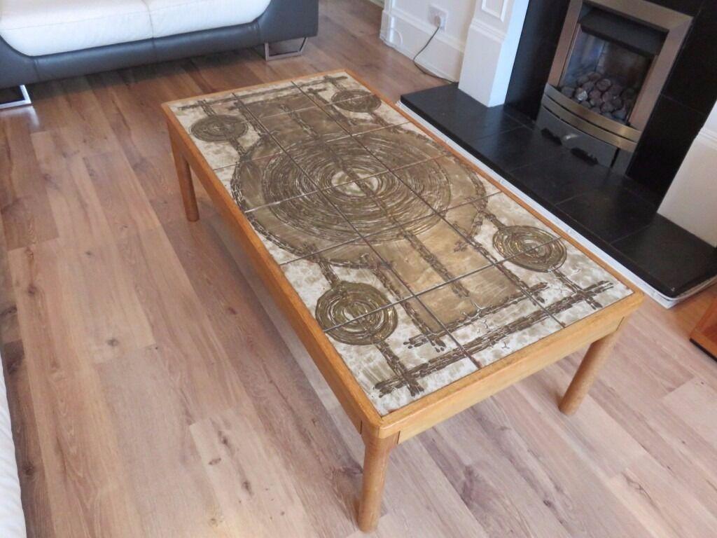 Vintage Retro Scandinavian 1976 Trioh Of Denmark Ox Art Tiled Coffee Table