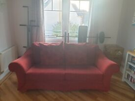 2 x 3 seater sofa. Deep red. Free