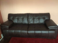 SCS brown leather sofa's 4 seater 2 available in VGC