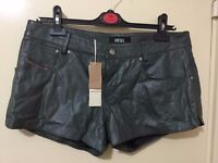 Totally new DIESEL 100% lamb skin leather green shorts with tag only £30
