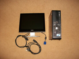 Dell Desktop PC & Monitor Windows 10 Pro - Ready to Use - 250GB HDD 4GB RAM