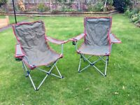 2 Folding Fishing/ Camping Chairs with Cup Holder and Carry Bag