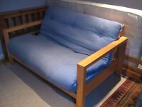 Double Futon - Solid wood with Blue cushion