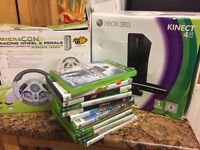 For sale: Slim black Xbox 360, Kinect, steering wheel, pedals and several games. Vgc
