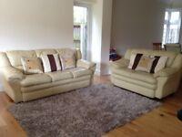 3 + 2 Seater Cream Leather Sofa Set