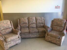 FREE to a Good Home - 3 Piece Suite, 3 Seater Sofa & 2 Armchairs