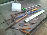 tools and garden tools, all to go today. great for car boot sales