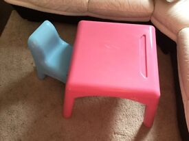 Elc children's pink table and blue chairs