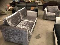 Brand new silver crushed velvet 3 + 1 seater sofa