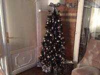 John Lewis Black Pre-Lit Slim Christmas Tree