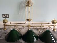 """ORNATE """"SNOOKER/POOL TABLE LIGHTS"""", 3 X GREEN GLASS SHADES...BARGAIN AT £80...CAN DELIVER"""