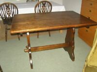 Solid Dark Oak Cottage Style Dining Table and 4 Matching Chairs