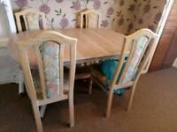 Solid wood table and chairs and display unit