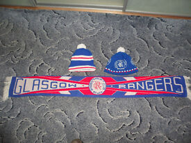GLASGOW RANGERS SUPPORTERS SCARF AND 2 HATS