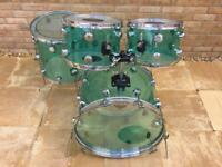 Vintage acrylic bottle green shell pack by Supreme Drums.